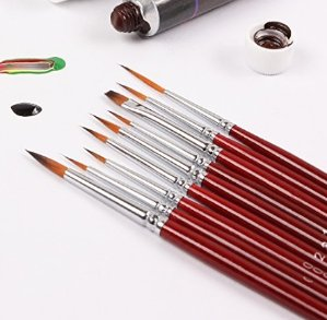 Lightning deal! $12.50 Fine Detail Paint Brush Set - 9 Pieces Miniature Brushes