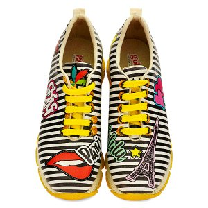 Goby Black & White Stripe Paris Grooved-Sole Sneaker - Women | zulily
