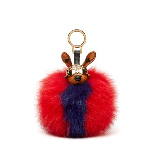 Rabbit Fur Charm in Ruby Red by MCM