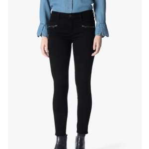 B(AIR) DENIM ANKLE SKINNY WITH FRONT ZIPS IN BLACK