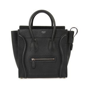 Black Pebbled Leather Micro Luggage Tote