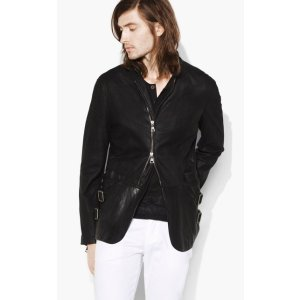 Zip Front Burnished Suede Jacket