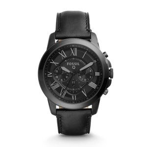 Q Grant Chronograph Black Leather Smartwatch - Fossil