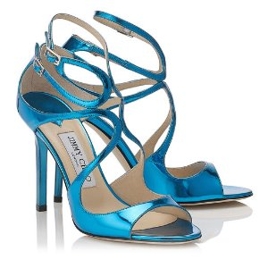LANG Robot Blue Mirror Leather Sandals
