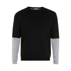 Premium Black and Grey Colour Block Sweater