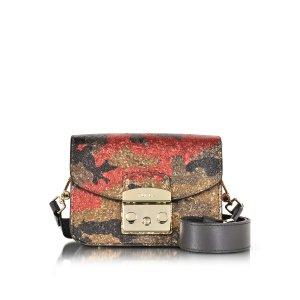 Furla Toni Peperoncino Metropolis Diamante Mini Crossbody Bag w/Glitter
