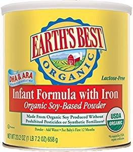 $12.19包邮白菜价!Earth's Best 有机大豆蛋白配方婴儿豆奶粉 658g