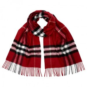 Burberry Classic Cashmere Scarf in Check - Parade Red