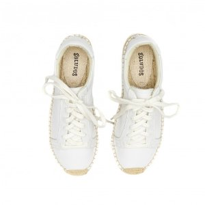 Soludos Leather Platform Tennis Sneakerdrille in White - Soludos Espadrilles