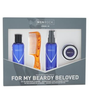 Men Rock Nourishing Beard Care Kit - Beardy Beloved (Beard Shampoo, Beard Balm, Moustache Wax, Beard Comb) - FREE UK Delivery