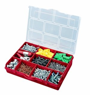 Stack-On 10 Compartment Storage Organizer Box with Removable Dividers, Red