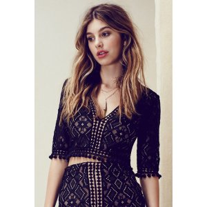 For Love & Lemons Florence Crop Top in Black