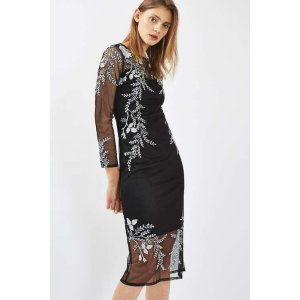 Long Sleeve Rose Embroidered Midi Dress - New In Dresses - New In - Topshop USA