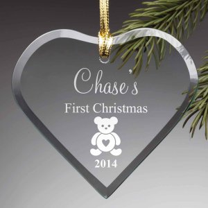 Personalized First Christmas Glass Ornament - Walmart.com
