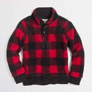 Boys' buffalo-check sherpa mockneck pullover : hoodies & sweatshirts | J.Crew Factory
