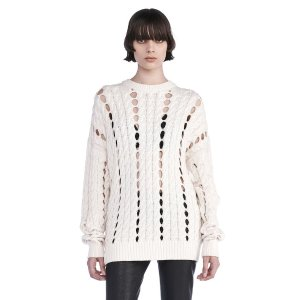 CABLE KNIT PULLOVER WITH INTARSIA SLITS | TOP | Alexander Wang Official Site