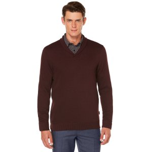 Textured Pique Crossover V-Neck | Perry Ellis