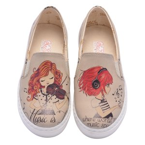 Goby Beige Girl & Violin Slip-On Sneaker - Kids | zulily