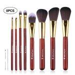 MiroPure 8-Piece Kabuki Makeup Brush Set with Ear Pick and Acne Needle (Golden Carmine / Black)