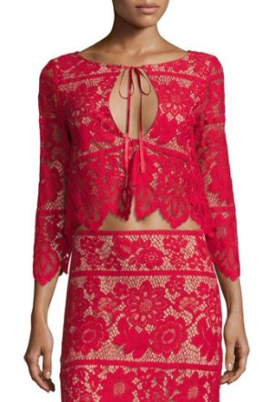 For Love & Lemons Gianna Floral-Lace Crop Top, Hot Red @ Neiman Marcus