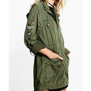 Natalie Military Badge Rain Mac