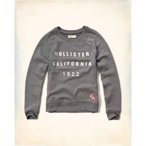 Girls Patch Crew Sweatshirt | Girls Clearance | HollisterCo.com