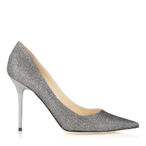Anthracite Lamé Glitter Pumps | Pointed Toe Shoes | Abel | JIMMY CHOO