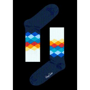 Faded Diamond Blue Socks. Yellow, Blue and Red Diamond Style at Happy Socks