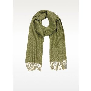 Mila Schon Green Pure Cashmere Long Scarf w/Fringe at FORZIERI