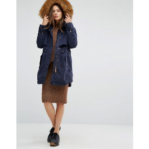 Parka London   Parka London Lara Classic Parka Jacket with Faux Fur Lined Hood