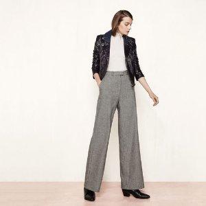 PANAME Wool jacquard wide-leg trousers - Pants - Maje.com