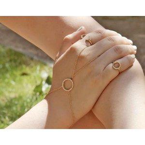 Gold Circle Hand Chain