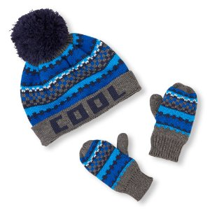 Toddler Boys 'Hero' Striped Pom Pom Beanie And Mittens Set | The Children's Place