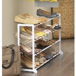 Whitmor 4 Tier, 20 Pair Floor Shoe Rack, White