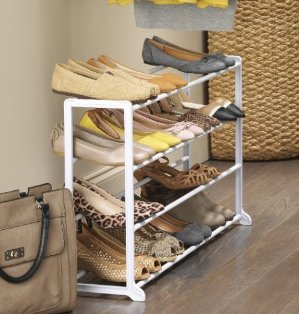 Whitmor 20 Pair Floor Shoe Rack, White