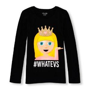 Girls Long Sleeve Glitter '#Whatevs' Princess Emoji Graphic Tee   The Children's Place