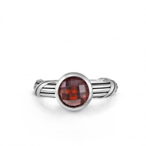 Peter Thomas Roth Ribbon and Reed Fantasies Red Garnet Bezel Set Solitaire Ring in sterling silver