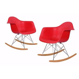 Modern Red Armchair Rocking Chair | Natural Wood Rocking Chairs - Sofamania