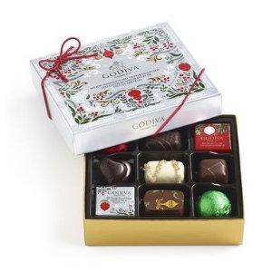 Assorted Chocolate Bûche de Noël Seasonal Gift Box, 9 pc.