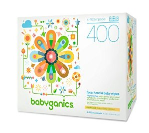 $10.52 + Free ShippingBabyganics Face, Hand & Baby Wipes, Fragrance Free, 400 Count (Contains Four 100-Count Packs)