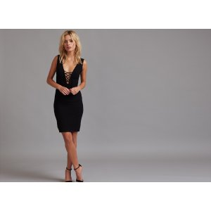Reversible Lace-up Bodycon Party Dress