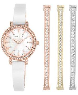 $72.19 Anne Klein Women's AK/2180WTST Swarovski Crystal Accented Rose Gold-Tone