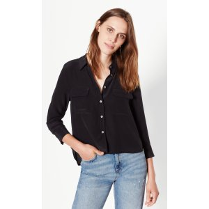 Women's CROPPED 3/4 SLEEVE SIGNATURE SILK SHIRT made of Silk | Women's New Arrivals by Equipment