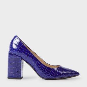 Paul Smith Women's Blue Mock Croc Leather 'Lin' Shoes