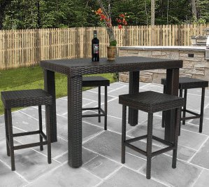 Best Choice Products 5 PC Wicker High Dining Furniture Set W/ Table & 4 Stools
