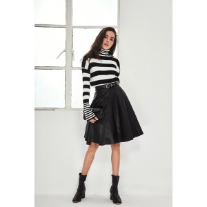 MAD A-Line PU Belted Skirt MSK0025