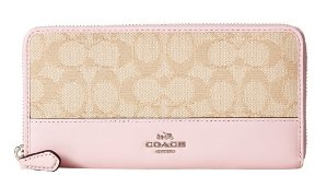 COACH Signature Color Block Accordian Zip Wallet