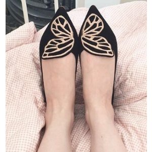 Sophia Webster Bibi Butterfly-Embroidered Suede Flats