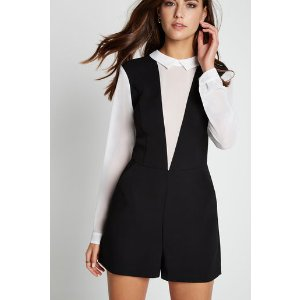 Two-Fer Collared Long-Sleeve Romper