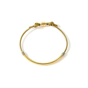 balance moss green leather bracelet, gold dipped - Dogeared
